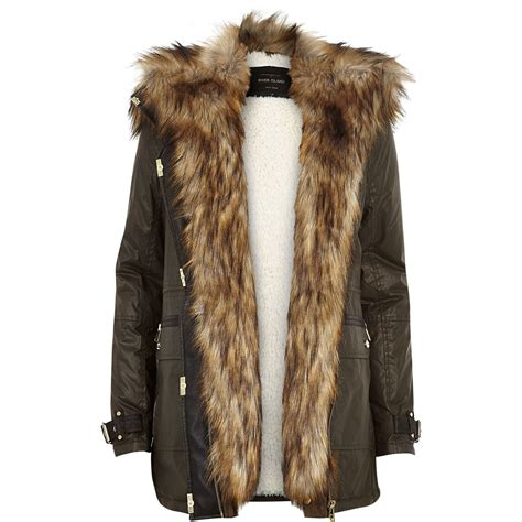 Ladies Bench Jackets River Island Khaki Faux Fur Trim Parka Jacket In Natural