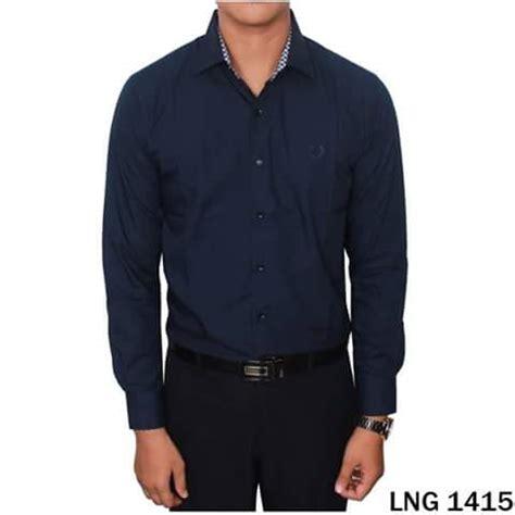 Hem Pendek Navy Baju Kemeja Pria Dongker Polos kemeja polos biru dongker lng 1415 kemeja pria terbaru batik slim fit kemeja pria