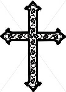 cross with ivy in black and white cross clipart