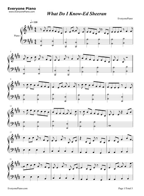ed sheeran what do i know chords what do i know ed sheeran stave preview 1 free piano