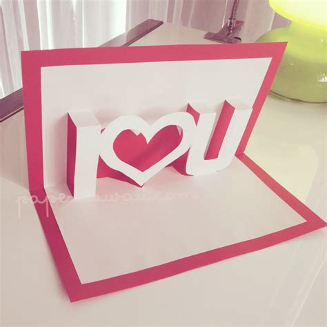 Pop Up Valentines Card Template I U Paper Kawaii Pop Up Card Templates