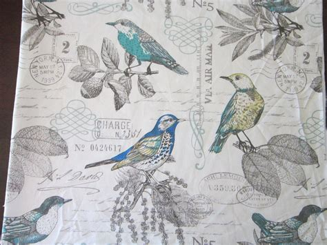 bird pattern fabric uk 2 875 yards fabric bird and vintage script pattern