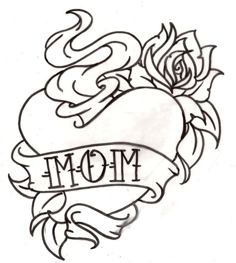 heartbeat tattoo drawing american traditional mom sacred heart tattoo with rose 7