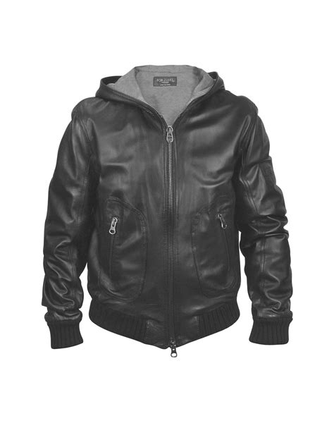hooded leather jacket mens forzieri s black leather hooded jacket in black for lyst