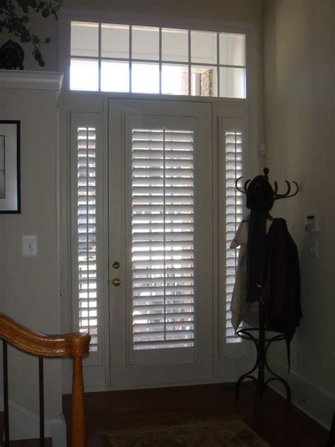 Front Door Window Treatment Plantation Shutters On Doors Traditional Jacksonville By The Louver Shop