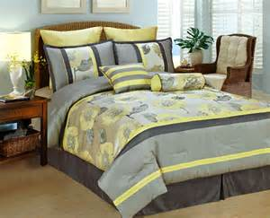 yellow comforter queen new modern peony comforter set w euro shams silver gray