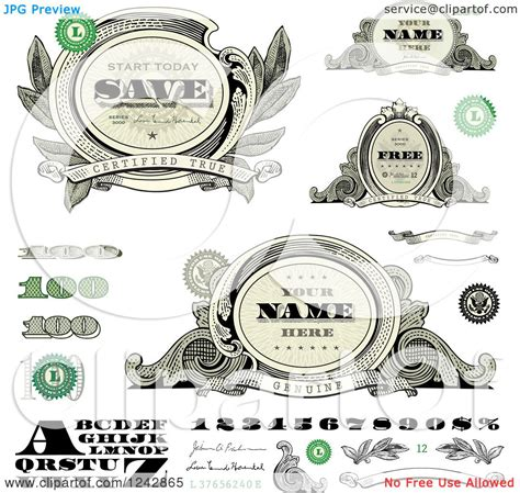 money dollars and design elements vector clipart of alphabet number and money design elements