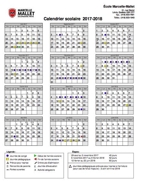 Calendrier 2018 Qc Calendrier Scolaire Marcelle Mallet Secondaire Priv 233