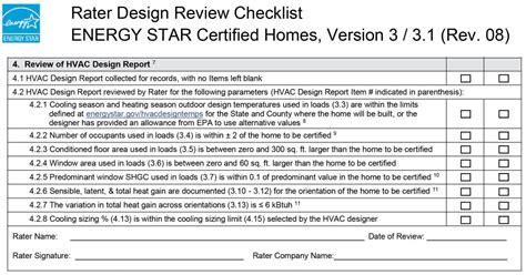 hvac design brief report energy star rater design review checklist 4 review of