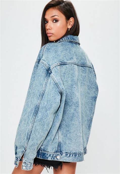 Blue Oversized Denim Jacket 1 blue drop shoulder oversized denim jacket missguided