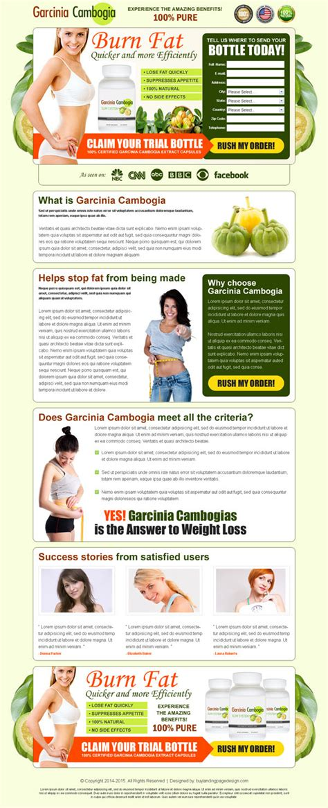 garcinia cambogia weight loss product landing page design