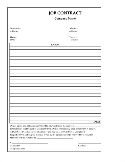 free construction forms templates 7 free construction contract templatereport template