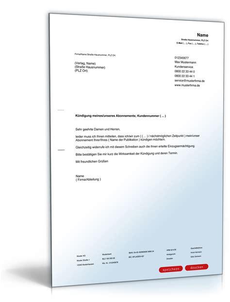 Vorlage Kündigung Abo Englisch k 252 ndigung abonnement mit r 252 cknahme der einzugserm 228 chtigung