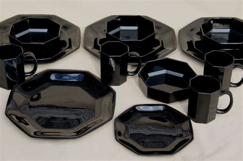 Octime Arcoroc vintage black glass dinnerware set, modern