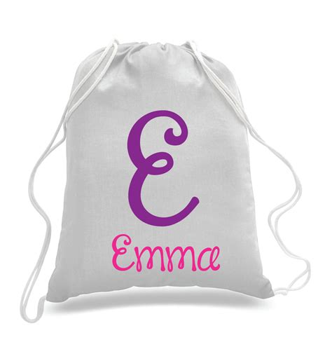 personalized monogrammed kids drawstring bags gym bags
