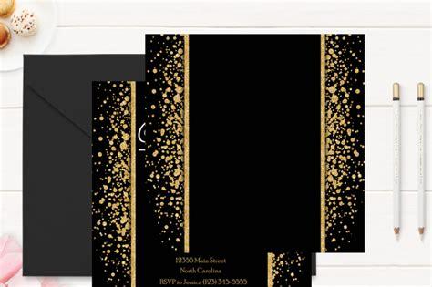 Gold And Black 50th Birthday Invitation Template By Violetprints Thehungryjpeg Com Gold Birthday Invitation Template