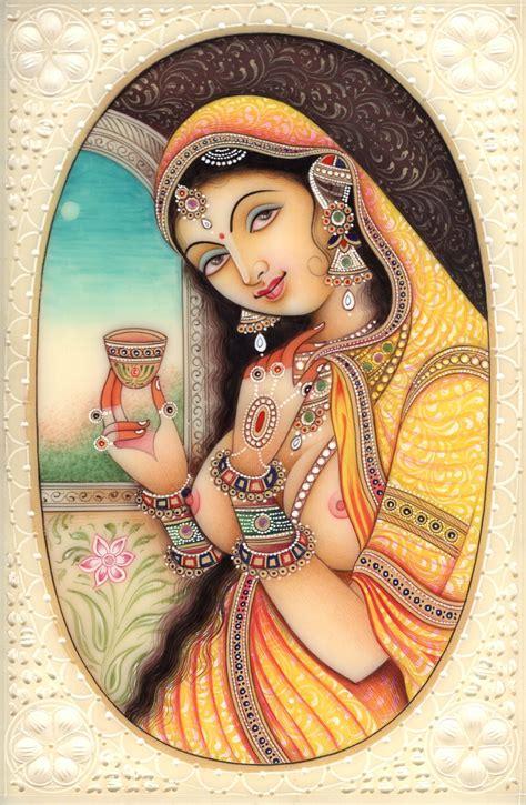 Handmade Portraits - indian miniature ethnic handmade princess portrait