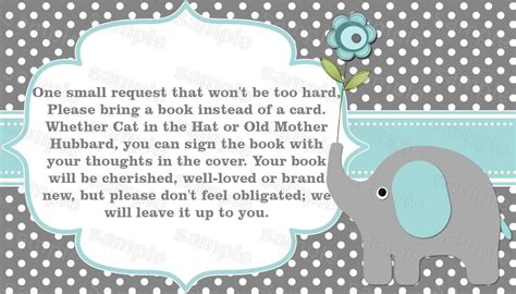 Baby Shower Invitations Books Instead Of Cards by Elephant Baby Shower Invitation Bring A Book Instead Of A Card