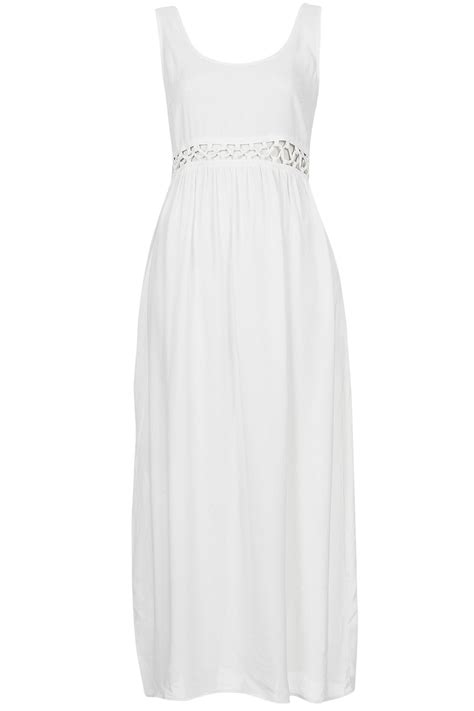 Topshop Petite Lace Waist Maxi Dress in White   Lyst