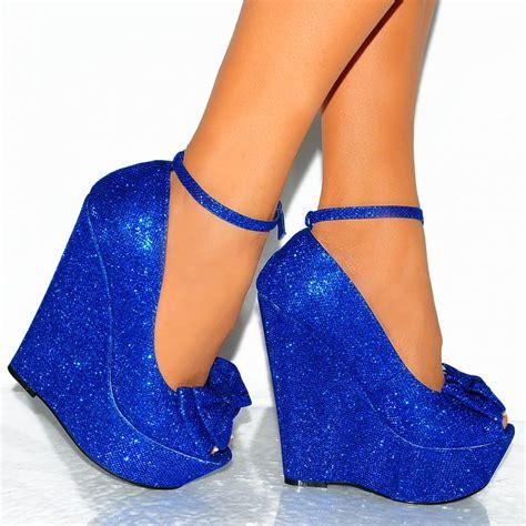high heeled wedges blue metallic glitter bow peep toe wedge high heel