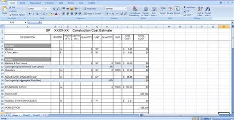 concrete estimate template construction cost estimate template free in