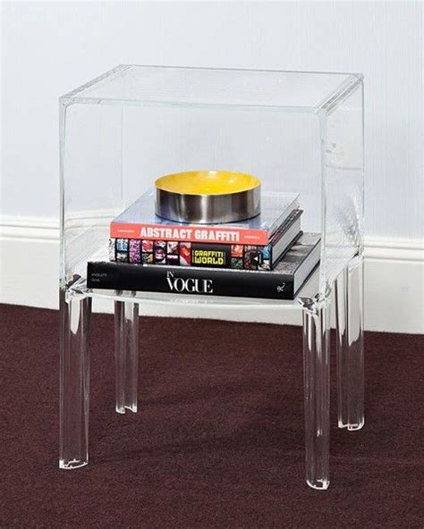 clear perspex side 1 shelf clear acrylic lucite bedside table nova68 com