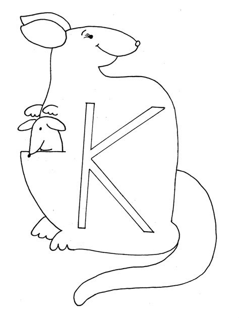 K Kangaroo Coloring Page by Printable K Kangaroo Alphabet Coloring Pages