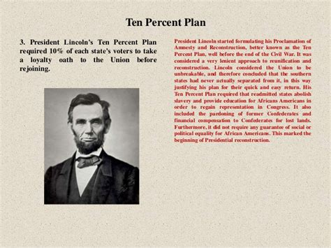 lincoln s 10 percent plan reconstruction