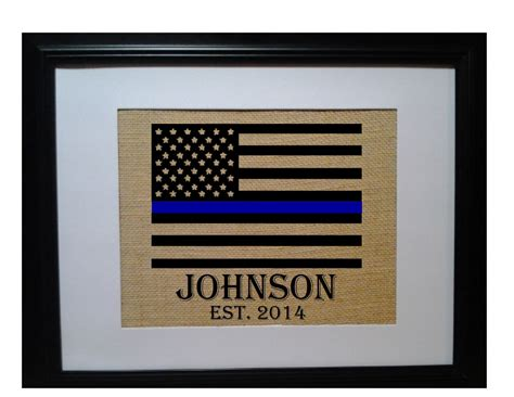 Gifts For A Officer by Officer Gift Thin Blue Line Family Name Burlap Print