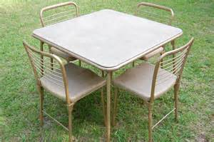 Vintage Metal Top Kitchen Table - vintage cosco 1950s metal table and chairs gambling gaming