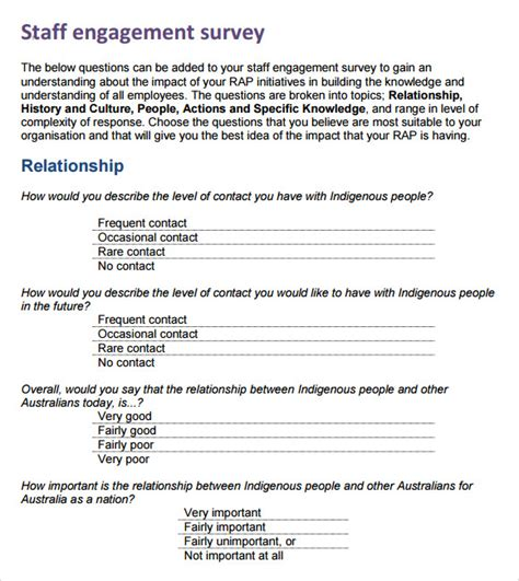 staff surveys template employee engagement survey 13 free documents
