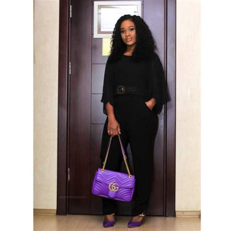 Posh Steps Out In A Sack cee c steps out looking posh with gucci bag in lagos