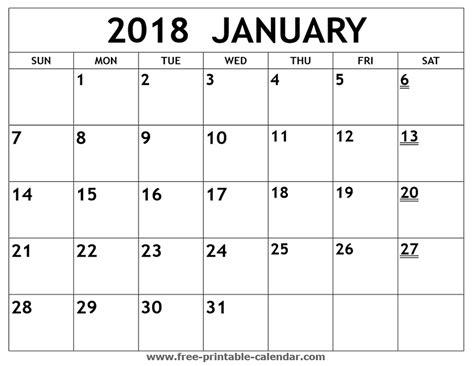 January 2018 Printable Calendar Printable 2018 January Calendar