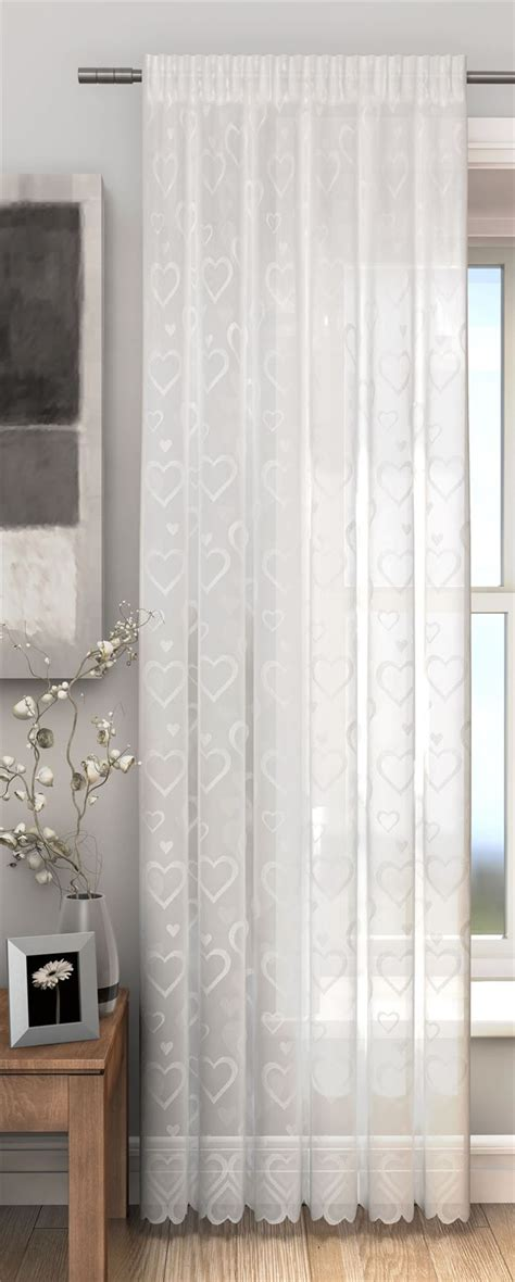 lace door panel curtains love hearts lace slot top sheer voile rod pocket window