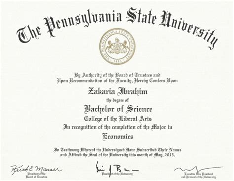 Bs Mba Penn State by Penn State Official Certificate Bachelor Of Science In