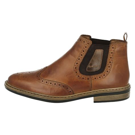 mens wide fit boots mens rieker wide fitting brogue pull on boots 37681 ebay