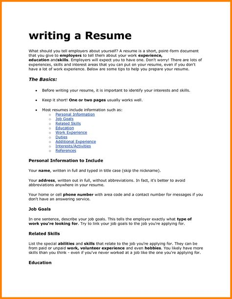 how to write a resume with no work experience sle doc what information should be included in a resume