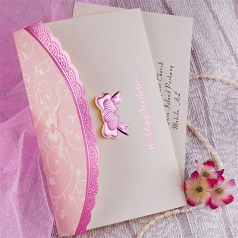 Pink Invitations Wedding by Beautiful Deco Embossed Tri Fold Budget White And Pink