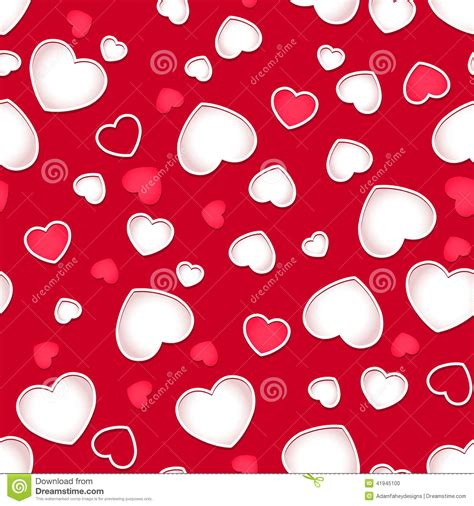cute background pattern love cute hearts seamless pattern with a red background stock