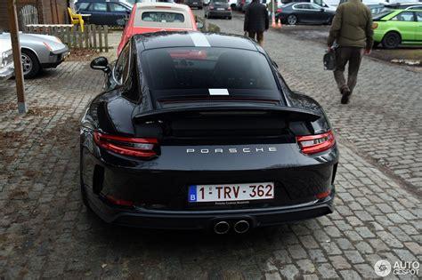 black 2018 porsche 911 gt3 touring package shows sleek