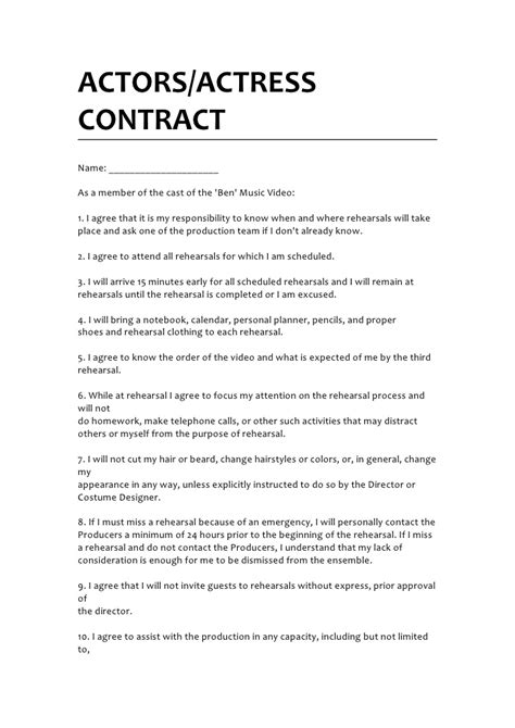 acting contract template actors contract