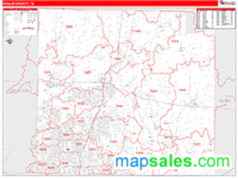 zip code map plano tx collin county tx zip code wall map red line style by