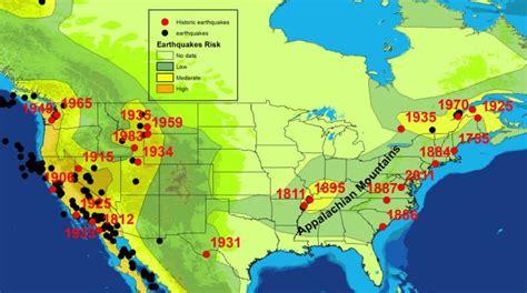 america earthquake map seismic zones of america