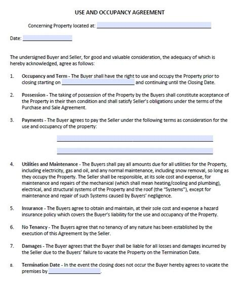 occupancy agreement template 13 free sle occupancy agreement templates printable