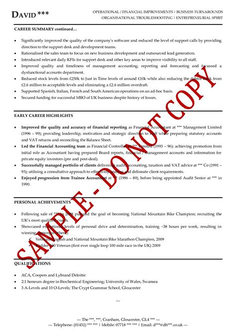 Sample Professional Summary Resume by Executive Cv Examples The Cv Store