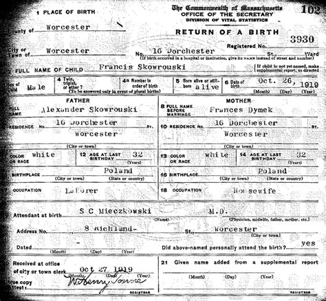 Mass Birth Records The Birth Of Francis Skowronski Steve S Genealogy
