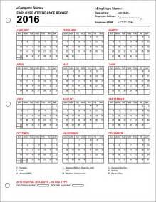 Employee attendance calendar 2016 tracker templates 2016 employee