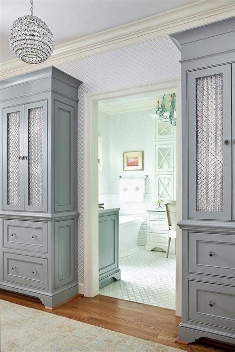 bedroom cabinets with doors gray cabinets with chicken wire doors transitional