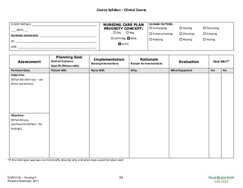 nursing plan template blank nursing care plan templates search