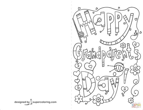 happy birthday coloring pages for grandparents happy grandparents day doodle card coloring page free